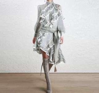 PO - Stripe Long Sleeve Women Irregular Dress with Bow