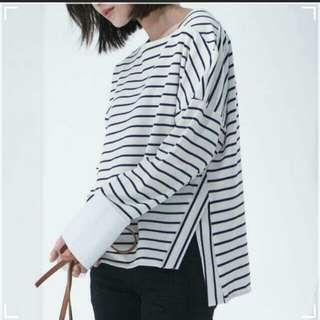 🚚 Starmimi條紋寬袖拼接襯衫上衣