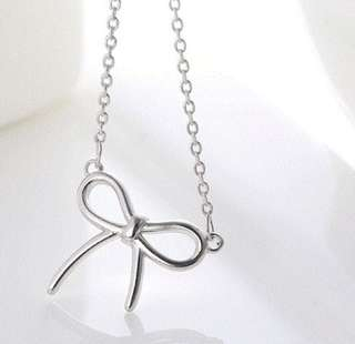 NKLN-068- S925 Silver Classic Ribbon Necklace
