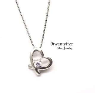 NKLL-012 - S925 Silver Cross Heart Crystal Love Necklace