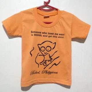 Preloved Bohol Philippines Souvenir Shirt - Orange - Tarsier - fits 3-5 yrs old