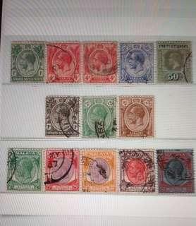 Malaya 1912-37 Straits Settlement KG V 13V Used (M1386) £