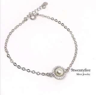 S925 Silver Sheer Gold Pearl Swarovski Crystal Bracelet