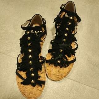 As know as黑色流蘇涼鞋