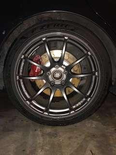 "18"" Advan Racing RZ rims and Pirelli PZ4 tyres"