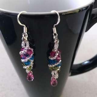 Handmade Swarovski Crystal Dangling Earrings