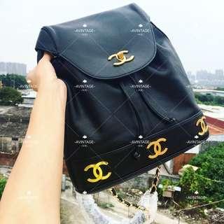 (SOLD)Chanel Vintage 黑色荔枝皮大CC 背囊 Backpack