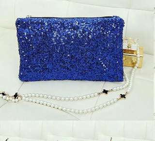 Blue sequin dinner Bag