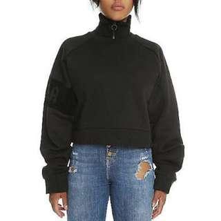 PUMA Fenty Cropped Zip-Neck Pullover Sweater