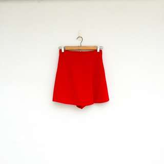 🚚 二手 紅色 高腰 彈性 開叉 褲裙 短褲 明太子 0426
