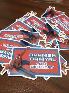 Spider-Man birthday stickers labels customised