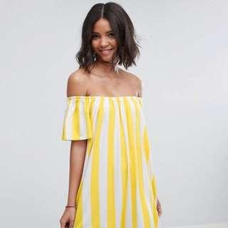 Off Shoulder Yellow Stripe Sundress
