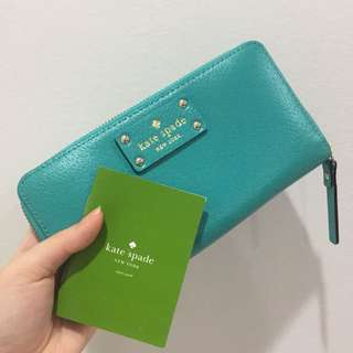 (NEW) Authentic Kate Spade Turquoise Green Zippy Long Wallet