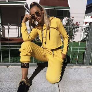 SET Tracksuits Hoodie Crop Top and Pants - Yellow