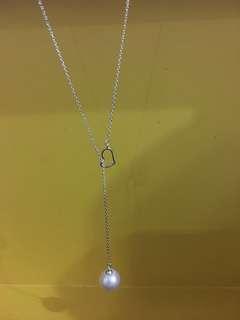 天然淡水珍珠s925純銀心型可調高低頸鍊