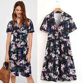 European Print Shirt Short Sleeve Dress
