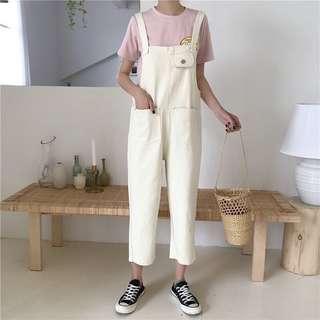 韓版顯瘦牛仔背帶九分褲