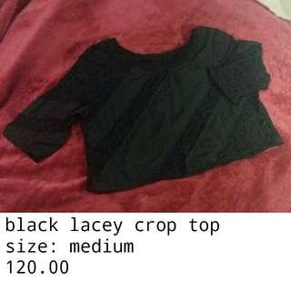 Black lacey crop top