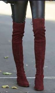 Maroon Suede Knee High Boots