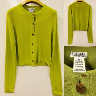 Hermes green knit with gold buttons cardigan size XS