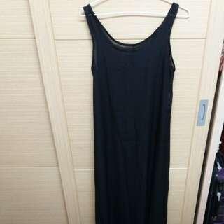 🚚 韓 透膚感黑色長洋裝
