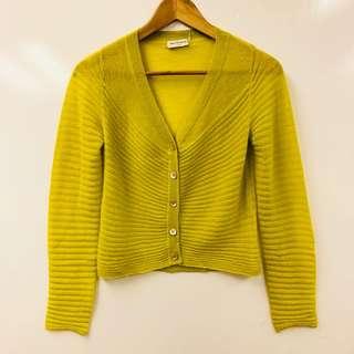 黃色針織外套 Dries Van Noten yellow greenish knit cardigan size S