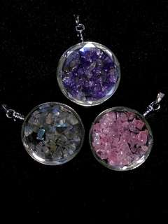 🍀Natural Moonstone, Rose Quartz and Purple Amethyst Crystal Faceted Glass Circle of Life Pendant🍀