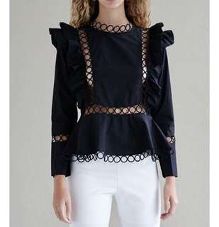 PO - Hollow Out Ruffle Long Sleeve Blouse (2colors)