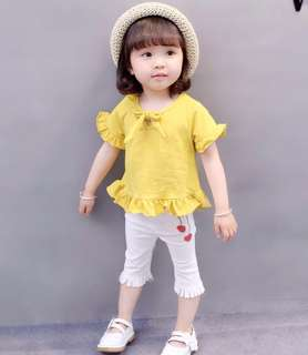 Female baby short-sleeved suit two piece
