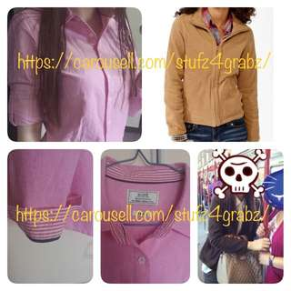 Rope Pastel Pink Long Sleeve Oxford Shirt Blouse / Forever 21 Fleece Jacket - Chocolate Brown