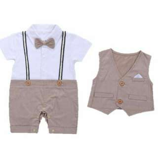 Baby Gentleman Tuxedo Romper with Vest - Sir Vincent