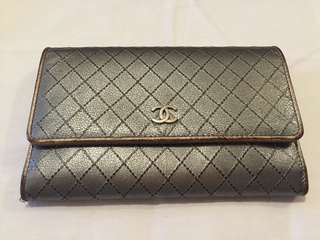 Chanel used silver Wallet medium size with zipper and card slots