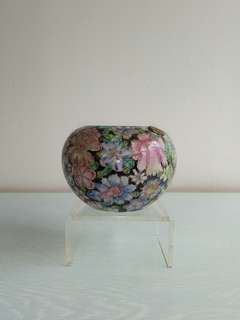 Vintage Porcelain Brush Washer With Enamel Painting height 9cm diameter 7.5cm perfect condition