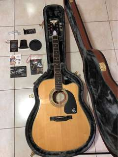 Epiphone PRO-1 Ultra Acoustic Guitar with Shadow preamp plus original Epiphone hard case
