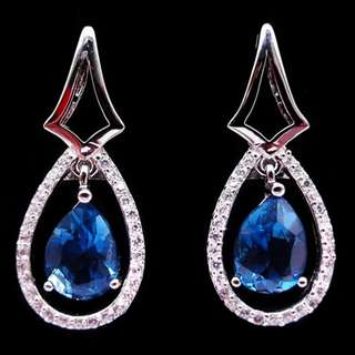 EARRINGS / SUBANG / ANTING LONDON BLUE TOPAZ PLATED WHITE GOLD CLIP ONS