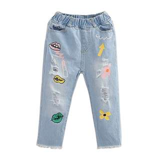 Baby girl hole jeans casual long pants
