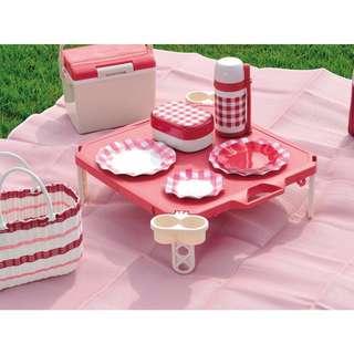 PEARL 野餐 露營 郊遊 外出 可收折 野餐桌 紅色 藍色 日本製 E0221
