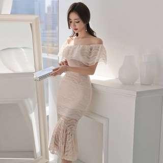 Lace Off Shoulder Mermaid Midi Bodycon Dress