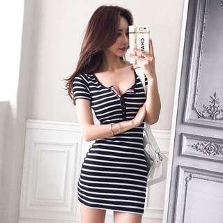 Ribbed Stripe Short Sleeve Bodycon Dress