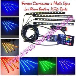 4 Strips Music-Synchronized Car MPV Van Minibus Truck Legroom Ambient LED Strip Lighting Sound Activated Colour Changing Decorative Atmosphere RGB LED Panel Waterproof Light Bar Plug-n-Play 12V