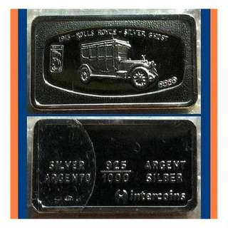 ♦ ITALY - Intercoins, Rolls Royce. 1x 60g Grams (1.785 Oz T 999) Fine Silver Ingot Art bar