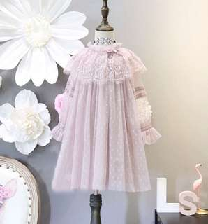 Long sleeve lace gauze princess dress