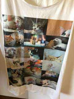T-shirt cats long white print size Au 8 small DYI hand made