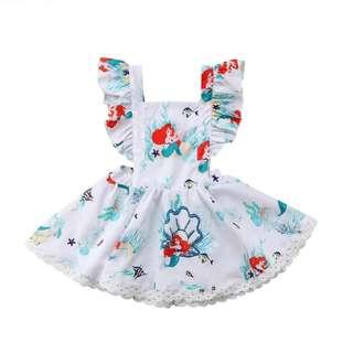 Flutter Sleeve Little Mermaid Dress