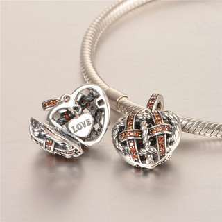 Code MS453 - Tied Rope Heart Love Openable 100% 925 Sterling Silver Charm, Chain Is Not Included, Compatible With Pandora