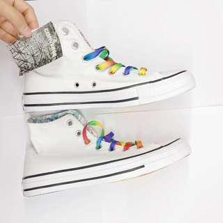 Converse全新彩虹底特別版 全白 連全白鞋帶 all star white 高筒 Chuck Taylor LGBT
