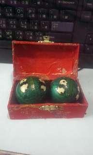 Vintage 45MM Chinese Asian Bamboo Panda Health Stress Iron Balls With Box