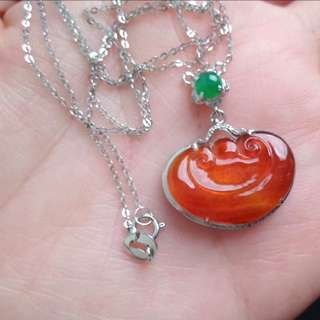 🍍18K White Gold - Grade A 冰种 Icy Red Ruyi 万事如意 Jadeite Jade Pendant🍍