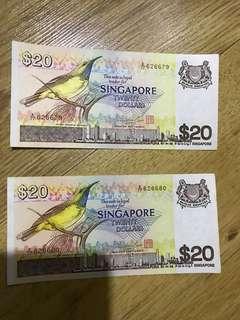 Singapore bird note $20 x2 running no