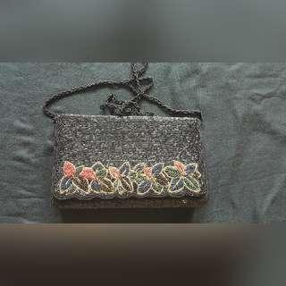 Evening classic black beaded sling bag. Grab fast $15
